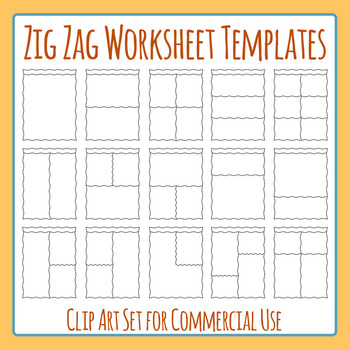 Zig Zag Worksheet Templates / Layouts Headers Clip Art Pack for Commercial Use