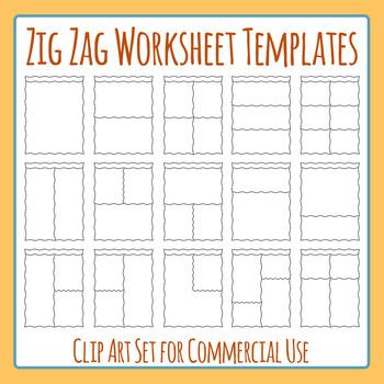 Zig Zag Worksheet Templates / Layouts Headers Clip Art Pac