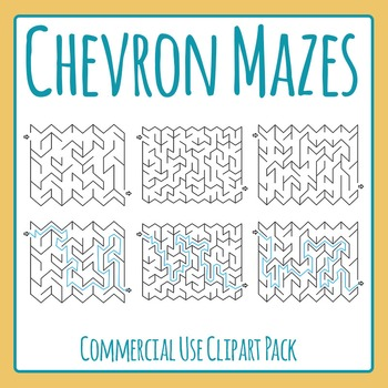 Zig Zag or Chevron Mazes with Solutions Clip Art Set for Commercial Use