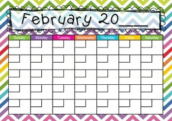 Zig Zag themed Calendar: Teaching Time: Days, Weeks, Months, Years
