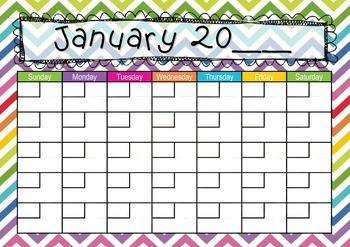 Zig Zag themed Calendar: Teaching Time: Days, Weeks, Months, Years