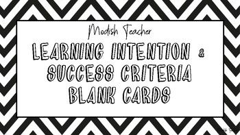 Zig zag learning intention & success criteria template