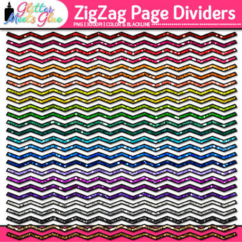 ZigZag Page Dividers Clip Art {Rainbow Glitter Borders for