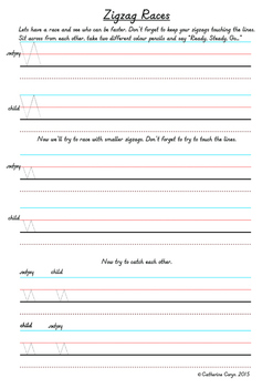 Zigzag Races for Improved understanding of direction and contol of handwriting
