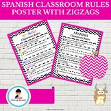 Spanish Classroom Rules Poster - Zigzag Design