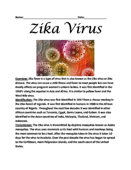 Zika Virus Fever - Lesson Facts Information Questions Vocab activities