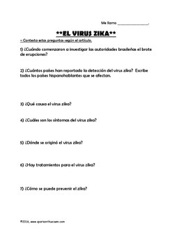 Zika Virus - Spanish Video and Article Comprehension Activities with Answer Key