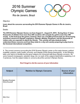 Zika Virus and Other Concerns: The 2016 Olympic Games in Rio de Janeiro, Brazil