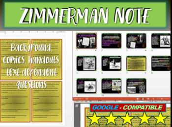 Zimmerman Note (Telegram) background, comics, handouts, text-dependent questions