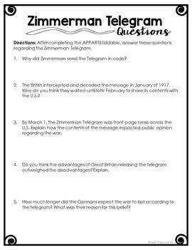 Zimmerman Telegram Primary Source Lesson