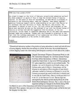 Zimmerman Telegram Worksheets & Teaching Resources   TpT