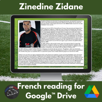 Zinedine Zidane - reading activities in French for Google Drive