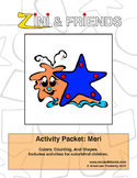 Colors, Counting, Shapes: Zini And Friends Meri Activity Packet