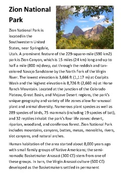 Zion National Park Handout