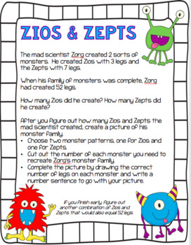 Zios and Zepts Problem Solving Monster Craftivity for Multiples and Factors
