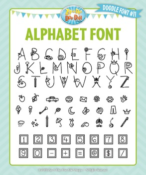 Zip-A-Dee-Doo-Dah Designs Alphabet Doodle Font 11 — Includes Commercial License!