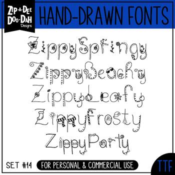 Zip-A-Dee-Doo-Dah Designs Doodle Font 2 — Includes Commerc