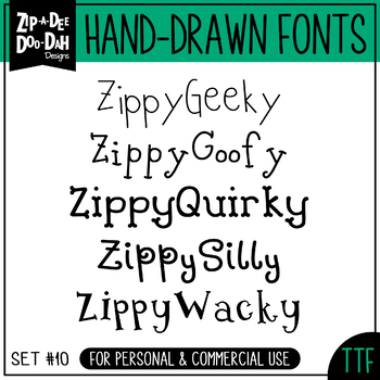 Zip-A-Dee-Doo-Dah Designs Font Collection 10 — Includes Co