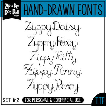 Zip-A-Dee-Doo-Dah Designs Font Collection 12 — Includes Co