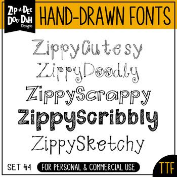 Zip-A-Dee-Doo-Dah Designs Font Collection 4 — Includes Commercial License!