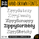 Zip-A-Dee-Doo-Dah Designs Font Collection 4 — Includes Com