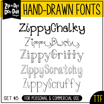 Zip-A-Dee-Doo-Dah Designs Font Collection 5 — Includes Com