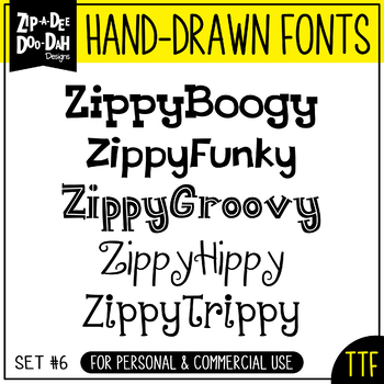 Zip-A-Dee-Doo-Dah Designs Font Collection 6 — Includes Commercial License!