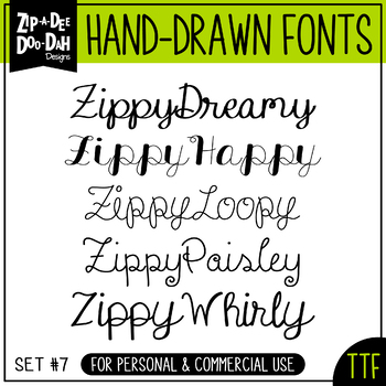 Zip-A-Dee-Doo-Dah Designs Font Collection 7 — Includes Com