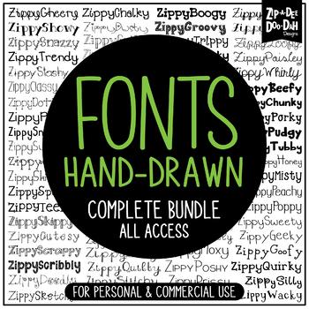 Zip-A-Dee-Doo-Dah Designs Fonts Mega Pack — Includes Comme