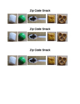 Zip Code Snack Recipe (counting/cooking)