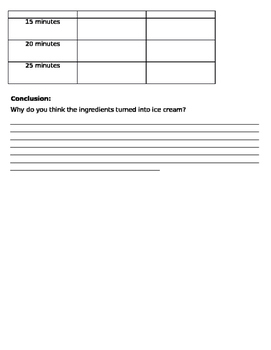 Zip Lock Ice Cream Experiment Worksheet