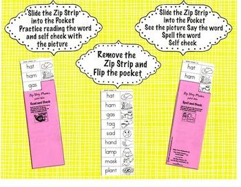 Zip Strip Phonics and Spelling Skill Builders - Short Vowels