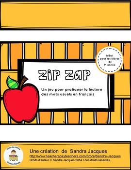 Zip Zap les mots usuels - un jeu de lecture