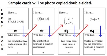 """Zip-a-Round """"I have...Who has...""""  Verbal & Algebraic Expressions"""