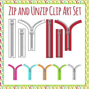 Zip and Unzip Clip Art Set for Commercial Use