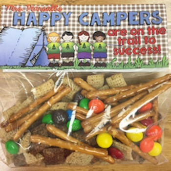 Ziploc Bag Happy Camper (Trail to Success) Topper for Treat or Snack