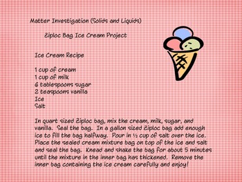 Ziploc Bag Ice Cream Science Investigation Project By