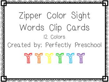Zipper Color Sight Word Clip Cards