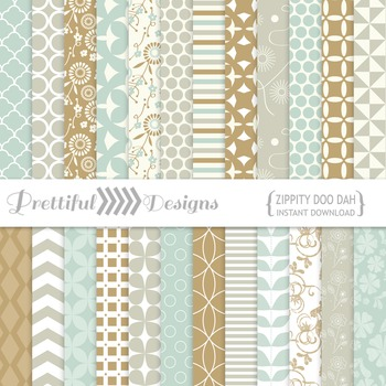 Zippity Doo Dah Digital Paper Pack for Commercial Use Mint Taupe Gold