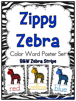 Zippy Zebra Stripe Color Words Poster Set