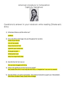 Zitkala-Sa Captivity Narrative close reading questions and answers handout