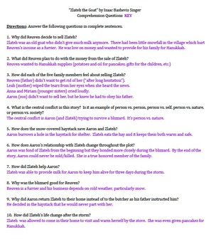 """Zlateh the Goat"" by Isaac Bashevis Singer - 10 Comprehension Questions with Key"