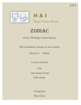 Zodiac Bingo Game (H&I Bingo Game Sheets) - 3 X 3