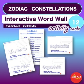 Zodiac constellations interactive word wall activity by scienceshakti zodiac constellations interactive word wall activity urtaz Choice Image