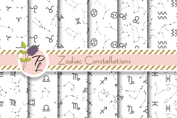 Zodiac Constellations Seamless Pattern Set. Digital paper pack.