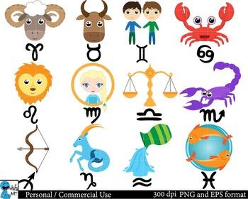 Zodiac Set Clipart - Digital Clip Art Graphics 24 images cod66