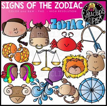 Zodiac Signs Clip Art Set {Educlips Clipart}