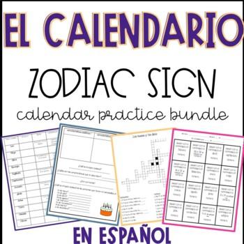Zodiac Signs + Other Calendar Practice en espanol
