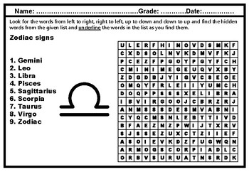 Zodiac signs, Word Search Puzzle, Vocabulary Worksheet