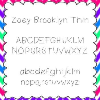 Zoey Brooklyn Thin Font {personal and commercial use; no l
